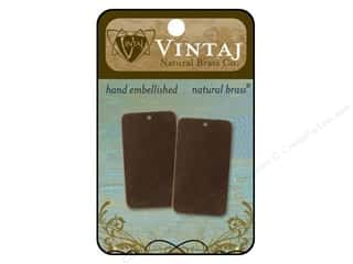 Vintaj Blanks Rectangle Large Natural Brass 2pc