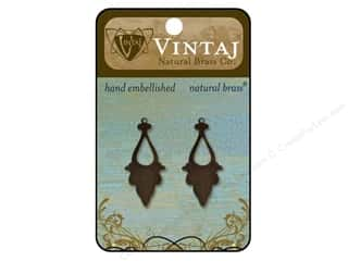 Vintaj Blanks Georgian Drop Open Natural Brass 2pc