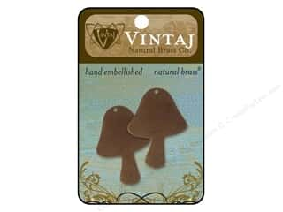 Vintaj Blanks Mushroom Natural Brass 2pc