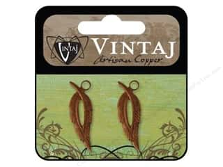 Vintaj Findings: Vintaj Charm Open Leaf Artisian Copper 2pc