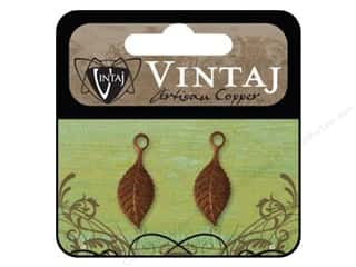 Vintaj Charm Spring Leaf Artisian Copper 2pc