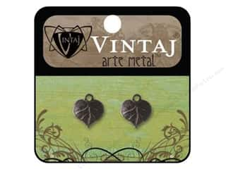 Vintaj Charm Heart Leaf Arte Metal 2pc