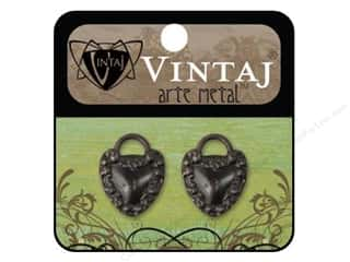 Charms Black: Vintaj Charm Kept Heart Arte Metal 2pc