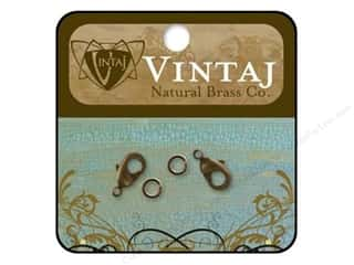 "Brass Rings 12"": Vintaj Findings Clasp Lobster 12mm Natural Brass 2pc"