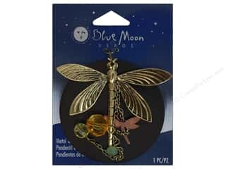 Blue Moon Metal & Wood Pendant Antique Brass Dragonfly