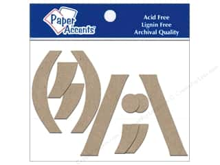 "Paper Accents Chip Shape Punctuation 4"" 2ea (,)/""\ Natural"
