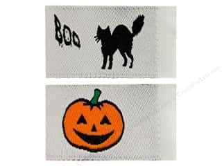 Tag It Ons Sew On Label Blk Cat Pumpkin Astd 12pc