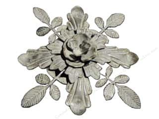 "Metal Flowers: Sierra Pacific Decor Metal Flower/Leaves Flat Bottom 8.5"" Grey"