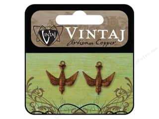 Vintaj Charm Emb Watchful Bird Arte Copper 2pc