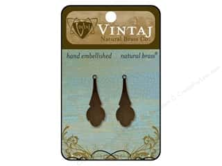 Vintaj Blanks Clover Drop Natural Brass 2pc