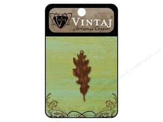 Charms Vintaj: Vintaj Charm Embossed Taliesin Leaf Arte Copper