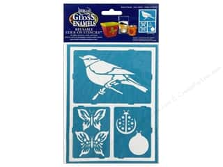 "Stencils Glass: DecoArt Stencil Americana Glass 6""x 8"" Fluttery Friends"
