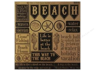 Canvas Corp 12 x 12 in. Paper Black & Kraft Beach (15 piece)
