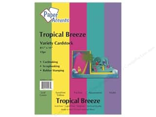 Scrapbooking $8 - $15: Cardstock Variety Pack 8 1/2 x 11 in. Tropical Breeze 15 pc. by Paper Accents