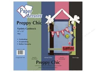 "Paper Accents Cardstock Variety Pack 12""x 12"" Preppy Chic 10pc"