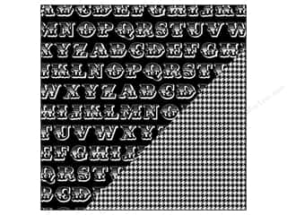 Bazzill Paper 12x12 Basics Licorice Alphabet Soup/Houndstooth 25pc