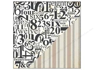 Bazzill ABC & 123: Bazzill 12 x 12 in. Paper Timeless Numbers/Burlap Stripe 25pc