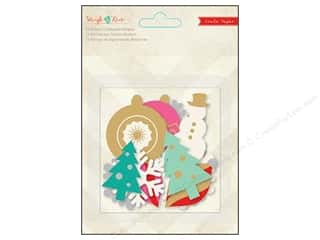 Chipboard Winter: Crate Paper Embellishments Sleigh Ride Glitter & Foil Chipboard Shapes