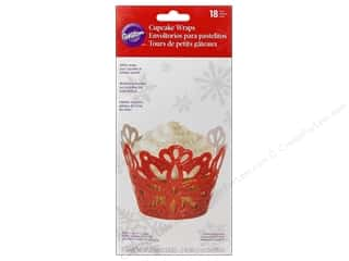 Wilton Baking Cup Cupcake Wrap Red Glitter 18pc