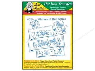 Aunt Martha Yarn & Needlework: Aunt Martha's Hot Iron Transfer #4024 Green Whimsical Butterflies