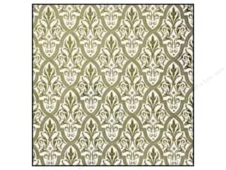 Anna Griffin Paper 12 x 12 in. Camilla Foil Damask Green (25 piece)