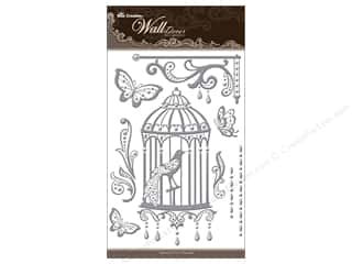 "sticker: Best Creation Wall Decor Sticker 16"" Birdcage Slvr"