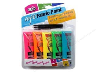 Fabric Painting & Dying Tulip Soft Fabric Paint: Tulip Soft Fabric Paint Set 0.9oz Multi Neon 5pc