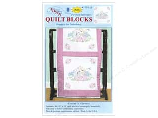 "Jack Dempsey Stamped Quilt Blocks: Jack Dempsey Quilt Block 18"" 6pc White Kittens In Flowers"