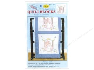 "Stamped Goods Stamped Tablecloths: Jack Dempsey Quilt Block 18"" 6pc White Vintage Lady"