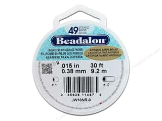 Beadalon Bead Wire 49strand .015&quot; Ant Stn Brs 30&#39;