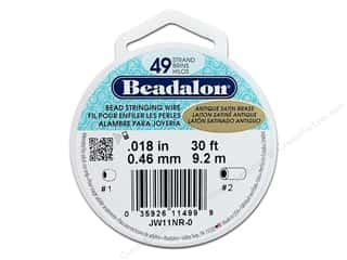 Beadalon Bead Wire 49strand .018&quot; Ant Stn Brs 30&#39;