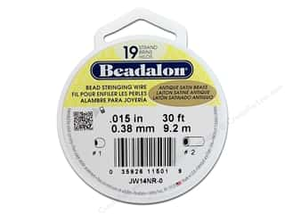 Beadalon Bead Wire 19 strand Antique Satin Brass 30ft