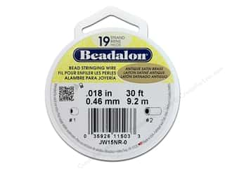 Beadalon Bead Wire 19 strand .018 in. Antique Satin Brass 30ft.