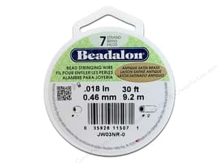 Beadalon Bead Wire 7strand .018&quot; Ant Stn Brs 30&#39;
