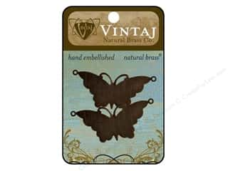 Vintaj Blanks Suspended Butterfly Natural Brass