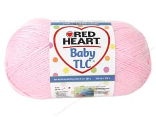 Polyester / Acrylic / Poly Blend Yarns: Red Heart Baby TLC Yarn 5oz Powder Pink 358yd
