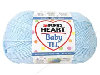Polyester / Acrylic / Poly Blend Yarns: Red Heart Baby TLC Yarn 5oz Powder Blue 358yd