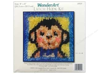 acrylic yarn: Caron Latch Hook Kit WonderArt 8x8 Monkey