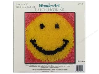acrylic yarn: Caron Latch Hook Kit WonderArt 8x8 Smile