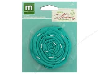 Flowers / Blossoms Blue: Making Memories Flowers Millinery Rolled Rose Teal