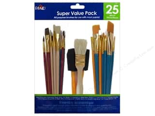 School $0 - $2: Plaid Paint Brush Super Value Pack All Purpose 25pc