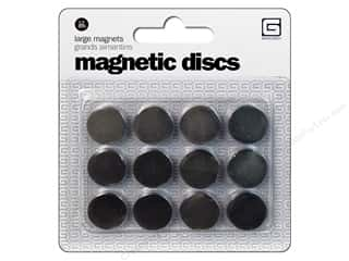 Magnets: BasicGrey Magnetic Discs Snaps Large 6pc