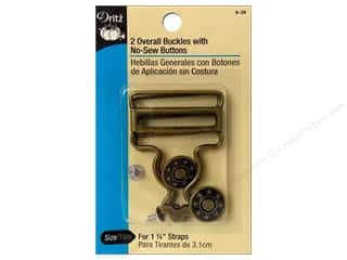"Jean Buttons: Dritz Overall Buckle w/Button 1.25"" Antique Brass"