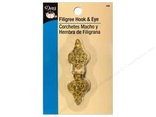 Fasteners 2 in: Hooks and Eyes by Dritz Filigree Gold