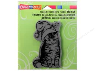 Stampendous Cling Rubber Stamp Christmas Kitten