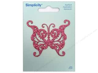 Wrights Embroidered Appliques: Simplicity Iron On Applique Glitter Butterfly