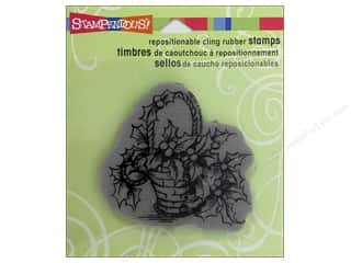 Holiday Sale Stampendous Cling Rubber Stamp: Stampendous Cling Rubber Stamp Holly Basket