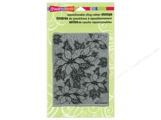 Stampendous Cling Rubber Stamp Poinsettia Bkground