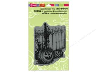 Stampendous Cling Rubber Stamp Hall Pumpkin Fence