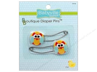 curved safety pin: Babyville Diaper Pins 2 pc. Playful Friends Owls